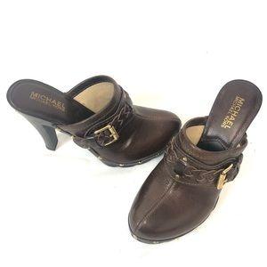 Michael Kors Brown Suede Studded Heels Mule Clogs